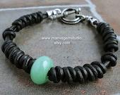 Men's Leather Bracelet, Green Aventurine Stone, Braided Black Leather Cord Bracelet, Tribal, Mens Casual, for Men Guys Dad Him