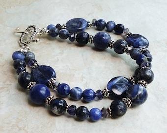 Sodalite Iolite Double Strand Bracelet, Bali Sterling Silver, Natural Gemstone, Handmade Jewelry