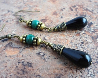 Green Malachite and Black Onyx Earrings in Antique Brass Tone, High Quality Gemstone Handmade Jewelry Drop Earrings