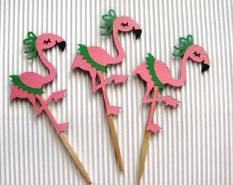 Flamingo Cupcake Toppers - Set of 12