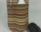 Massage therapy single bottle RIGHT hip holster, pen pocket, Autumn stripes, canvas, black belt