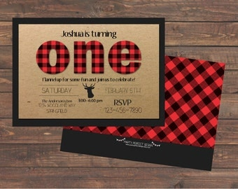 Little Lumberjack Birthday Invitation -Buffalo Plaid Birthday -Buffalo Check, Red and Black with optional thank you card - Print Your Own