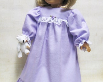 Lilac Flannel Nightgown for American Girl Doll