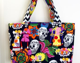 Ready to Ship - Sugar Skull - Day of the Dead - Tote