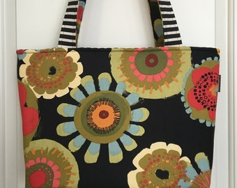 LARGE TOTE - Painted Flowers - purse - travel - laptop bag - overnight