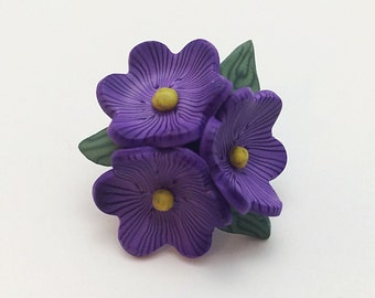 Purple Flower Brooch, Polymer Clay Violet Cluster Pin