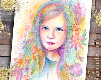 Whimsical Watercolor Child Portraits - kids portrait,  Baby Portrait, fairy Portrait, Keepsake Portrait, colorful Portrait, flower portrait