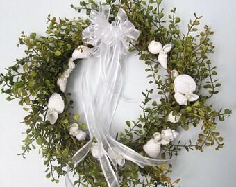 Seashell Wreath, Beach Decor Shell Wreath, Nautical Decor Coastal Wreath, Beach Wedding Wreath, Nautical Wreath, Beach Home Decor #GRNW -M