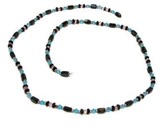 Vintage Blue and Black Hematite Bead Lariat Necklace Magnetic Hematite Necklace Blue Necklace Lariat Style Necklace Hematite Bead Necklace