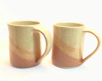 Set of 2 Ceramic Handmade Mugs , Nutmeg / Sahara combination