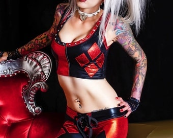 Metal Threads Harley Quinn custom made to order outfit top & leggings black red spandex pants suicide squad joker cosplay costume halloween