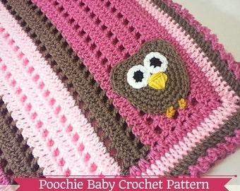 Crochet PATTERN - Big Eyed Owl Receiving Blanket