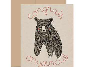 Congrats Pregnancy Card, New Baby Card, Congratulations Card, Baby Bear Card, Congrats on your Cub, Baby Announcement Card, Baby Shower Card