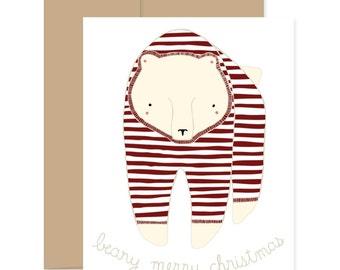 Bear Christmas Card, Bear Festive Card, Festive Greetings Card, Bear Happy Christmas, Beary Merry Christmas Pajama Bear Card