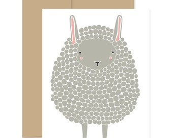 Dark Gray Sheep Card, Baby Card, Baby Sheep Card, Easter Card, Happy Mail, Gray Lamb Card, Blank Card, Thinking Of You Card