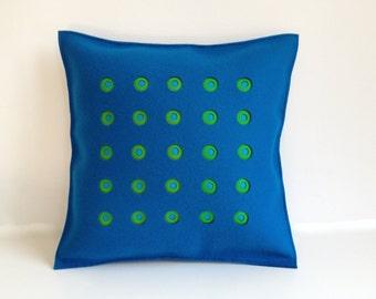 Blue Felt Pillow, Peacock and Green Felt Pillow, Blue and Green Felt Pillow, Contemporary Pillow
