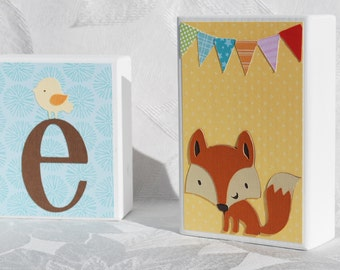 Personalized Baby Name Block Letters . Woodland Party for Girl . Anne plus 2 decorative blocks