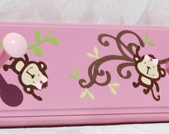 Mod Pod Pop Monkey in Pink . Personalized Peg Rack . For Girl