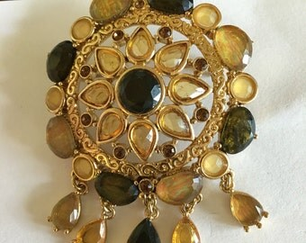 Vintage Fall Autumn Floral Amber Rhinestone Dangling Brooch 1970s