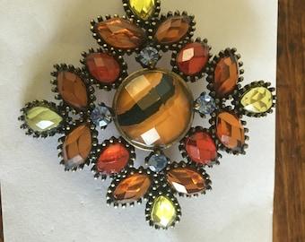 Vintage Large Autumn Colors Rhinestone Brooch
