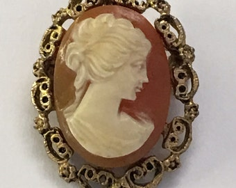 Vintage Victorian Revival Molded Plastic Cameo Pin Pendant 1970s