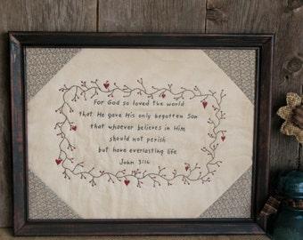 John 3:16 Primitive Framed Stitchery
