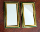 Vintage Wood Mirrored Frames Rectangle Framed Mirrors Green Gold Set of Two 1980s
