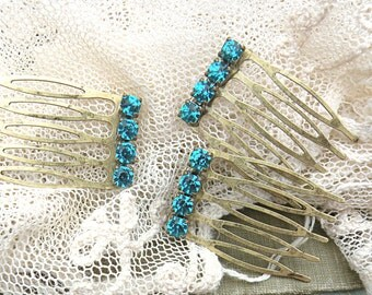 rhinestone hair comb small upcycle jewelry recycle
