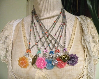 peony necklace recycle jewelry assemblage duet blossom repurpose upcycle double pendant blossom flower floral colorful