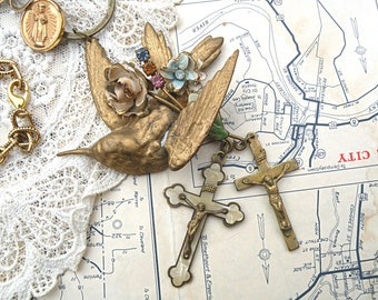 religious assemblage necklace bird cross flower catholic upcycled jewelry pin circles medal