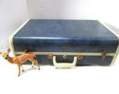 Vintage Samsonite Overnight Suitcase, Blue Marble Exterior w/ Pristine Satin Interior, Luggage, Carry On, Overnighter, Storage Staging Prop