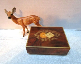 Vintage Music Box, Italian Inlay Wood Floral Design, Made in Italy, Wind up to play The Emperor's Waltz, Footed, Formal Pristine Gift Italy