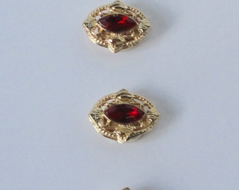 Vintage Gold Tone Metal with Red Navettes Rhinestones Button Covers