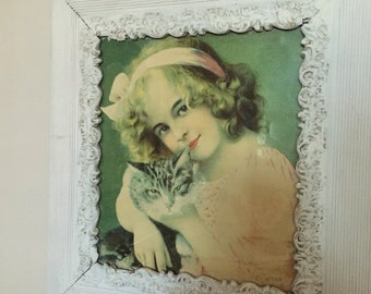 Vintage Girl with your Cat