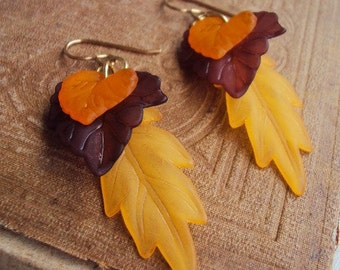 Leaf Charm Earrings Long Statement Autumn Fall Leaves Lucite Style Antique Gold Metal Boho Bohemian Chic Costume Jewelry Handmade Tribal