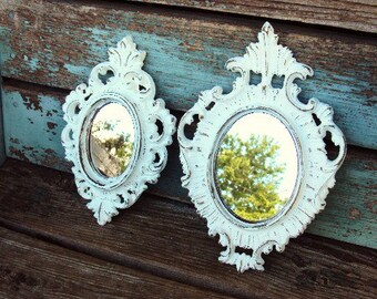 Vintage Shabby Chic Mirrors Mirror Set Frame Collage Vignette Distressed Antique  White Baroque Style French Nordic Rococo Hollywood regency
