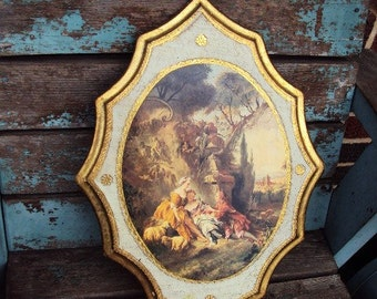 Vintage Italian Florentine Large Wood Wall Plaque Picture Victorian Regency Picture Gold Gilt Toleware Tole Ware Hollywood Regency