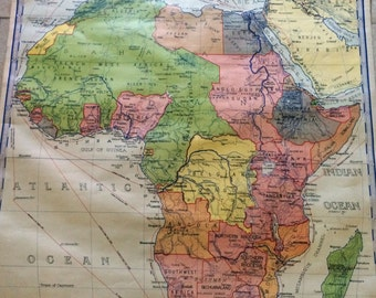 Large Pull down 30s Antique Classroom Map of AFRICA 1931 Copyright Denoyer Geppert Co Chicago