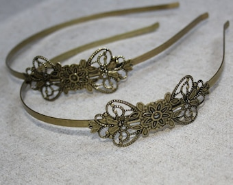 4 pcs Antique Bronze Headband Hair Band with large filigree