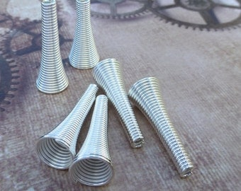 Free UK postage - Spring Tube Bead Caps Silver Tone Pack of 20