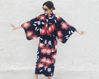 Vintage Blue & Red Japanese Kimono Novelty Print Cotton Robe