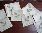 Vintage Home Linens Hand Stitched Set of Four Napkins and Coasters