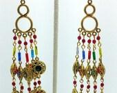 "Handcrafted Vintage Gypsy Inspired Multi-Color 4"" Brass Chandelier Earrings OOAK Free Ship"