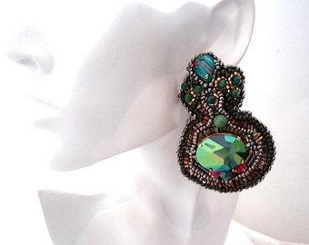 big bold statement military green earrings , jean paul gaultier swarovski crystals jewelry , handmade chandelier earrings , green fuchsia