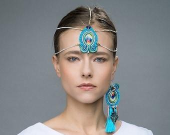 turquoise boho head piece   rhinestones chevron hair jewelry   bohemian gipsy head band   spring summer jewellery trends   Crystal headpiece