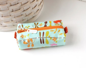 Small Boxy Pouch Orange and Aqua Coin Purse Blue Change Purse Credit Card Holder