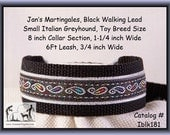 "Jan's Martingales, Black Collar Leash Combination Walking Lead,  Italian Greyhound, Toy Dog Size 8 "" Collar Section Iblk181"