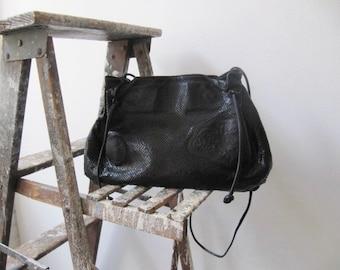 large carlos falchi handbag / 1980s black leather designer shoulder bag