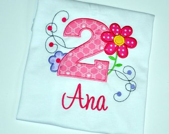 Personalized Daisy Flower Girl Birthday Outfit - 2nd Birthday Garden Party Shirt, Toddler Whimsical Floral Birthday Party Theme and Ideas