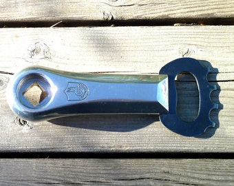 Bicycle Crank Bottle Opener Upcycled Gear and Crank Arm Campagnolo Suntour Fathers Day